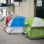 Tents on Western Ave in downtown Seattle